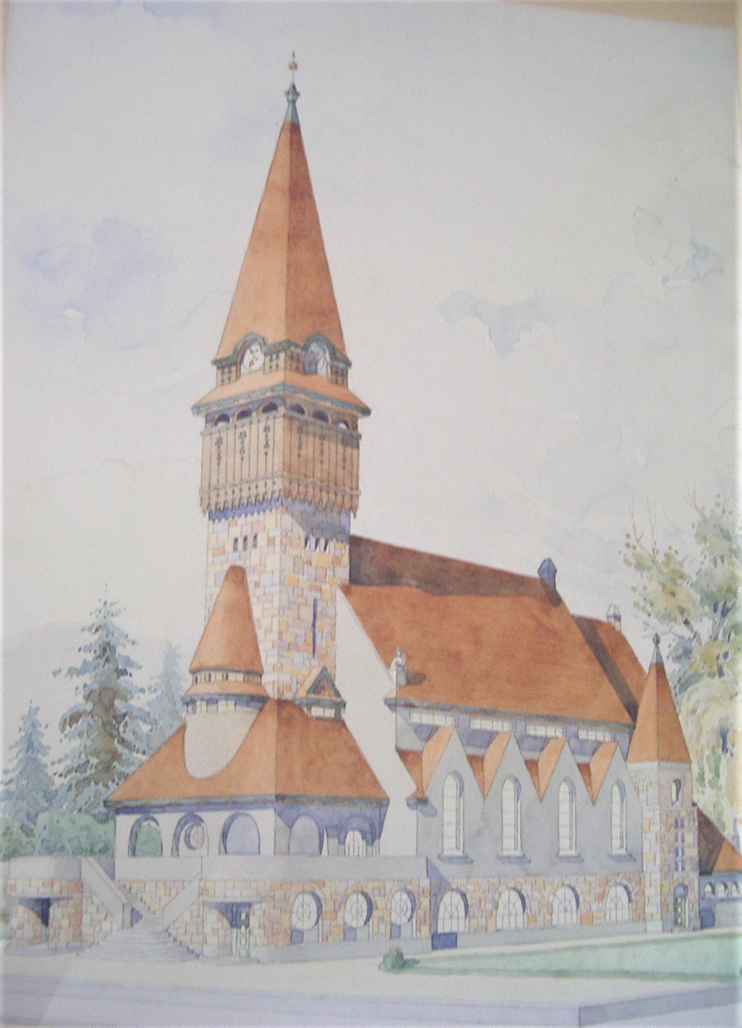177affb91d Budapest-Pesterzsébet Klapka téri Református Egyházközség, Szeghalmy Bálint  terve, papír, akvarell, Méret: 41,5 x 53 cm